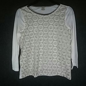 J Crew white and gold blouse, size S
